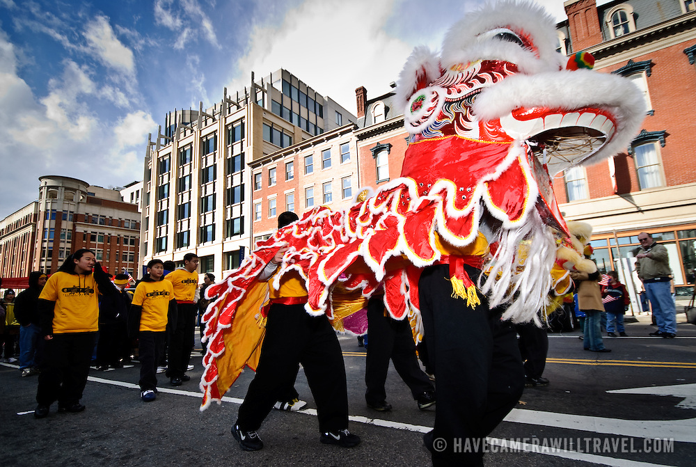 Dragon in the Chinese New Year Parade in downtown Washington, DC, in Chinatown