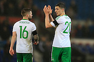 Craig Cathcart of Northern Ireland applauds the Irish fans at the end of the game. Wales v Northern Ireland, International football friendly match at the Cardiff City Stadium in Cardiff, South Wales on Thursday 24th March 2016. The teams are preparing for this summer's Euro 2016 tournament.     pic by  Andrew Orchard, Andrew Orchard sports photography.