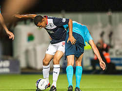 Falkirk's Phil Roberts with Dunfermline's Luke Johnston.<br /> Falkirk 2 v 1 Dunfermline, Scottish League Cup, 27/8/2013, at The Falkirk Stadium.<br /> ©Michael Schofield.