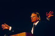 "Charismatic American evangelist, Billy Graham preaches with open hands to British Christians during Mission 89, a series of evangelical revival rallies, on 14th June 1989 in London, England. Graham (b1918) is an Evangelical Christian who has been a spiritual adviser to several U.S. presidents including George W Bush with Time Magazine calling him "".. the nation's spiritual counselor."" He is number seven on Gallup's list of admired people for the 20th century and member of the Southern Baptist Convention."