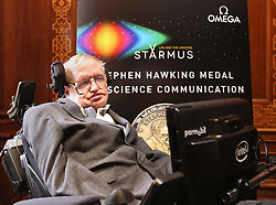 Professor Stephen Hawking at The Royal Society in London during a press conference previewing the Starmus science and arts festival taking place in Norway next month.