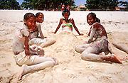 23 JULY 2002 - TRINIDAD, SANCTI SPIRITUS, CUBA: Cuban teenagers at Playa Ancon beach near the colonial city of Trinidad, province of Sancti Spiritus, Cuba, July 23, 2002. Trinidad is one of the oldest cities in Cuba and was founded in 1514..PHOTO BY JACK KURTZ