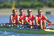 Sydney. AUSTRALIA. 2000 Summer Olympic Regatta, Penrith. NSW.  <br /> <br /> AUT M4X NUSSBAUMER, Horst, JONKE, Arnold, HARTL, Raphael, LAMBING, Norbert<br /> <br /> [Mandatory Credit Peter SPURRIER/ Intersport Images] Sydney International Regatta Centre (SIRC) 2000 Olympic Rowing Regatta00085138.tif