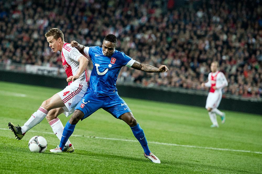 Nederland. Amsterdam, 29-09-2012. Foto: Patrick Post.  Ajax-Twente. Uitslag: 1-0. Twente speler Edson Braafheid in duel om de bal met Ajacied Niklas Moisander.