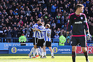Sheffield Wednesday striker Gary Hooper (14) celebrates the third goal during the Sky Bet Championship match between Sheffield Wednesday and Cardiff City at Hillsborough, Sheffield, England on 30 April 2016. Photo by Phil Duncan.