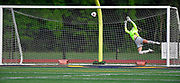 Althoff scored in the first half on this shot that got past Columbia goalkeeper Brooklyn Oestrich. Althoff played Columbia in the sectional championship game at Althoff High School in Belleville, IL on Friday June 11, 2021. <br /> Tim Vizer/Special to STLhighschoolsports.com.