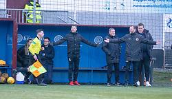 Stenhousemuir's manager Colin McMenamin (right). Stenhousemuir 1 v 4 Arbroath, Scottish Football League Division One play12/1/2019 at Ochilview Park.