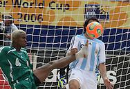 Footbal-FIFA Beach Soccer World Cup 2006 -  Open Oficial Games - ARG x NIR- Facundo Minici ARG and Okemmiri NIG-  Rio de Janeiro, Brazil - 02/11/2006.<br />Mandatory Credit: FIFA/Ricardo Ayres