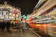 Light trails near Oxford Circus, London, at Christmas