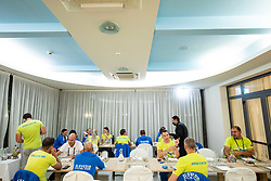 Dinner of Team Slovenia during  UCI Road World Championship 2020, on September 24, 2020 in Hotel Lungomare, Rimini, Italy. Photo by Vid Ponikvar / Sportida