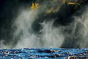 Fog on the Kaministiquia River at Kakabeka Falls<br /> Kakabeka Falls Provincial Park<br /> Ontario<br /> Canada