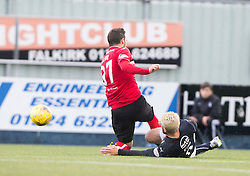Falkirk's Lewis Kidd hurt in this tackle with Dunfermline's Nicky Clarke. Falkirk 2 v 1 Dunfermline, Scottish Championship game played 15/10/2016, at The Falkirk Stadium.