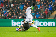 Renato Sanches of Swansea City clashes with Marc Albrighton of Leicester city. Premier league match, Swansea city v Leicester city at the Liberty Stadium in Swansea, South Wales on Saturday 21st October 2017.<br /> pic by Aled Llywelyn, Andrew Orchard sports photography.