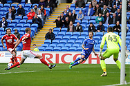Cardiff's Joe Bennett (c) crosses the ball between Nottingham's Joseph Worrall (c) and David Vaughan. EFL Skybet championship match, Cardiff city v Nottingham Forest at the Cardiff City Stadium in Cardiff, South Wales on Easter Monday 17th April 2017.<br /> pic by Carl Robertson, Andrew Orchard sports photography.