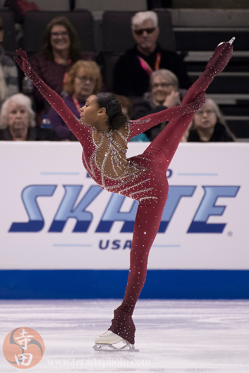 January 3, 2018; San Jose, CA, USA; Starr Andrews performs in the ladies short program during the 2018 U.S. Figure Skating Championships at SAP Center.