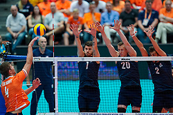 11-08-2019 NED: FIVB Tokyo Volleyball Qualification 2019 / Netherlands - USA, Rotterdam<br /> Final match pool B in hall Ahoy between Netherlands vs. United States (1-3) and Olympic ticket  for USA / Matthew Anderson #1 of USA, David Smith #20 of USA, Aaron Russell #2 of USA
