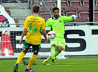 Fotball 1 Divisjon 2016  07.08.2016<br /> Isachsen stadion Mjøndalen<br /> <br /> Resultat <br /> <br /> Mjøndalen keeper Sousha Makani gjorde en god debut<br /> <br /> Ullensaker / Kisa<br /> <br /> <br /> Foto: Robert Christensen Digitalsport