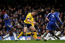 Kevin van Veen of Scunthorpe United takes on the Chelsea defenders - Mandatory byline: Robbie Stephenson/JMP - 10/01/2016 - FOOTBALL - Stamford Bridge - London, England - Chelsea v Scunthrope United - FA Cup Third Round