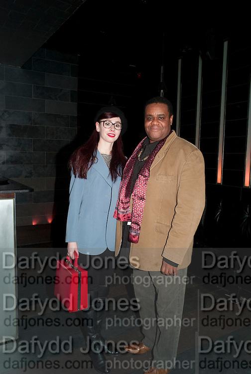LENKA PADYSAKOVA; CLIVE ROWE, Clybourne Park Press night. Opened at Wyndham's Theatre. Party afterwards at Mint Leaf, Haymarket, London. 8 February 2011.  -DO NOT ARCHIVE-© Copyright Photograph by Dafydd Jones. 248 Clapham Rd. London SW9 0PZ. Tel 0207 820 0771. www.dafjones.com.