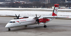 THEMENBILD - ein Flugzeug des Typs Dash-8 Q400 mit der Kennung OE-LGC am Innsbruck Flughafen. Die Tyrolean Airways Zentrale am Innsbrucker Flughafen. Tyrolean Airways gab am heutigen 26. Februar 2018 bei einer Pressekonferenz mit AUA-Chef Kay Kratky einen massiven Stellenabbau aufgrund von Unwirtschaftlichkeit am Standort Innsbruck bekannt. Betroffen sollen 80 der 110 Mitarbeiter der Tyrolean Technik sein. Tyrolean Technik ist Spezialist in Reparatur und Wartung der diese Flugzeugtyps // a Dash-8 Q400 aircraft with registration OE-LGC at Innsbruck Airport. Tyrolean Airways announced on February 26, 2018 at a press conference with AUA CEO Kay Kratky a massive job cuts due to inefficiency at the location Innsbruck. 80 of the 110 employees of Tyrolean Technik are said to be affected. Tyrolean Technik is a specialist in repair and maintenance of this type of aircraft, in Innsbruck, Austria on 2018/02/26. EXPA Pictures © 2018, PhotoCredit: EXPA/ Jakob Gruber