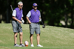Steve Fuller and Dabo Swinney during the Chick-fil-A Peach Bowl Challenge at the Oconee Golf Course at Reynolds Plantation, Sunday, May 1, 2018, in Greensboro, Georgia. (Marvin Gentry via Abell Images for Chick-fil-A Peach Bowl Challenge)
