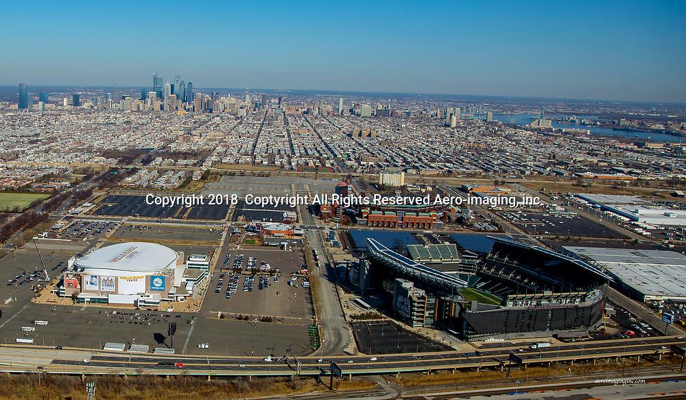 Aerial view of the Philadelphia Sports Complex Skyline Aerial view of the Philadelphia Sports Complex skyline.