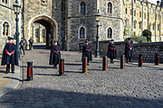 Castle Wardens stand guard outside Windsor Castle after the death of Britain's Prince Philip in Windsor on Sunday, April 11, 2021. Britain's Prince Philip, the irascible and tough-minded husband of Queen Elizabeth II who spent more than seven decades supporting his wife in a role that most defined his life, died on Friday. (Photo/ Vudi Xhymshiti)