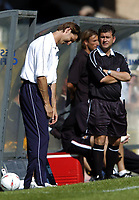 Fotball<br /> Foto: SBI/Digitalsport<br /> NORWAY ONLY<br /> <br /> Wycombe Wanderers v Cambridge United<br /> Coca Cola League Two. 07/08/2004<br /> <br /> Wycombe manager Tony Adams isn't looking very happy.