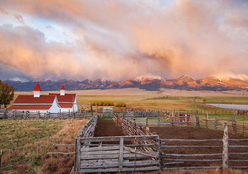 Beckwith Ranch at dawn in the Wet Mountain Valley.