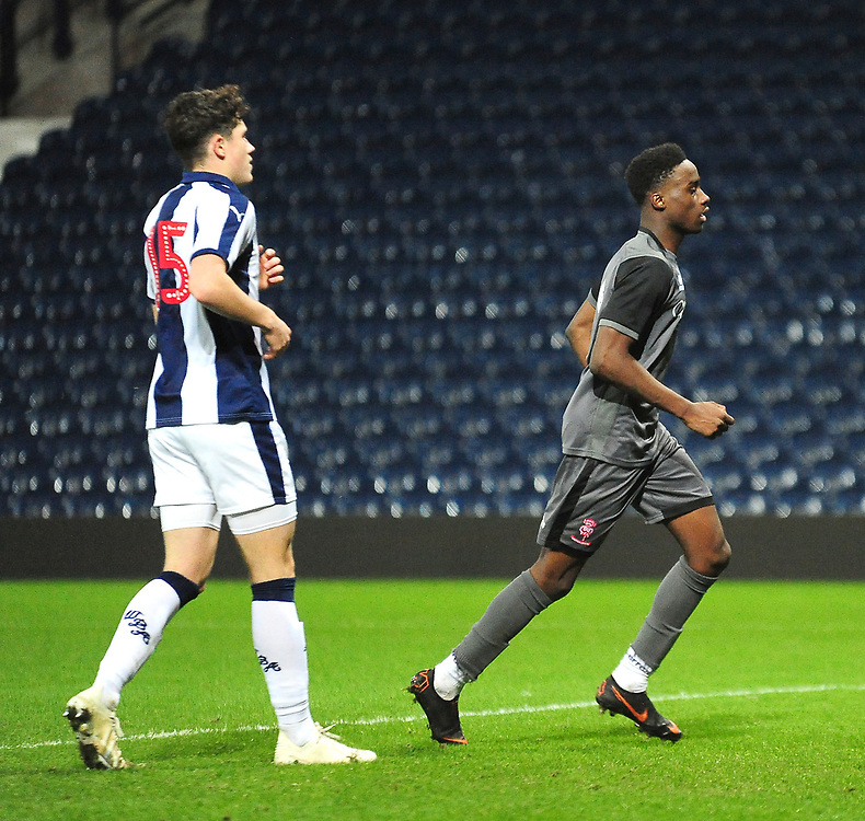 Lincoln City U18's Jordan Adebayo-Smith celebrates scoring his side's first goal<br /> <br /> Photographer Andrew Vaughan/CameraSport<br /> <br /> FA Youth Cup Round Three - West Bromwich Albion U18 v Lincoln City U18 - Tuesday 11th December 2018 - The Hawthorns - West Bromwich<br />  <br /> World Copyright © 2018 CameraSport. All rights reserved. 43 Linden Ave. Countesthorpe. Leicester. England. LE8 5PG - Tel: +44 (0) 116 277 4147 - admin@camerasport.com - www.camerasport.com