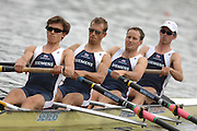 Amsterdam, HOLLAND, GBR LM4-, Bow  Richard CHAMBERS, James Lindsey FYNN, Paul MATTICK and James CLARKE, move way from the start in their heat of the lightweight men's four, at the 2007 FISA World Cup Rd 2 at the Bosbaan Regatta Rowing Course. [Date] [Mandatory Credit: Peter Spurrier/Intersport-images]..... , Rowing Course: Bosbaan Rowing Course, Amsterdam, NETHERLANDS