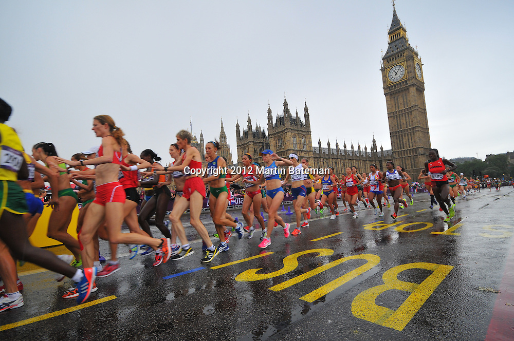 The runners in the Olympic women's marathon passes in front of Big Ben on August 5th, 2012
