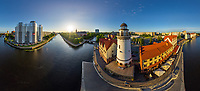 Aerial view of lighthouse at Kaliningrad city, Russia