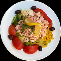 Shrimp Salad Lunch in Stockholm. Image taken with a Fuji X-T1 camera and 27 mm f/2.8 lens.