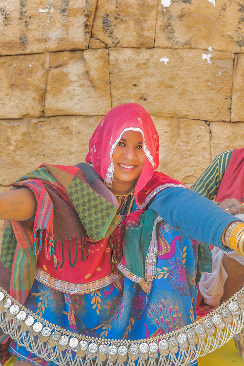 A local woman sells handicrafts in Jaisalmer, Rajasthan, India.