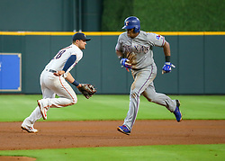 July 28, 2018 - Houston, TX, U.S. - HOUSTON, TX - JULY 28:  Texas Rangers third baseman Adrian Beltre (29) takes off for third base on a fielding error in the top of the fourth inning during the baseball game between the Texas Rangers and Houston Astros on July 28, 2018 at Minute Maid Park in Houston, Texas.  (Photo by Leslie Plaza Johnson/Icon Sportswire) (Credit Image: © Leslie Plaza Johnson/Icon SMI via ZUMA Press)
