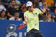 KEVIN ANDERSON hits a forehand during his match on day four at the Citi Open at the Rock Creek Park Tennis Center in Washington, D.C.