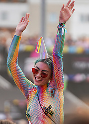 © Licensed to London News Pictures. 29/08/2021.Manchester, UK. Revellers make the most of the bank holiday weekend during Manchester Pride Festival at First Street. Photo credit: Ioannis Alexopoulos/LNP