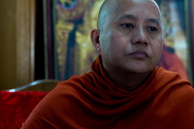 Portrait of Ashin Wirathu as he discusses the Rohinghya situation in Rakhine state Myanmar. Maesoeyin Monastery. 25TH November 2016