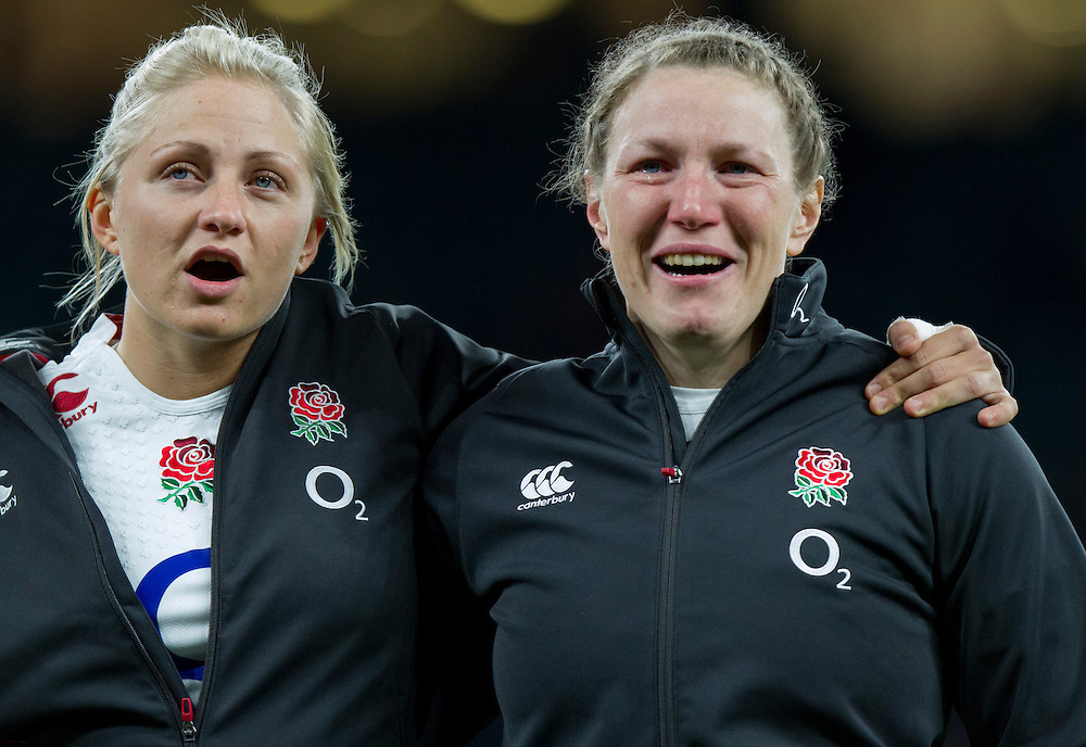 Ceri Large and Rochelle Clark during the National Anthems, England Women v France Women in the 6 Nations at Twickenham Stadium, Twickenham, England, on 21st March 2015