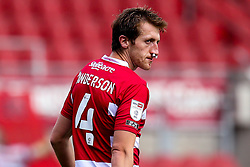 Tom Anderson of Doncaster Rovers with buds up his nose to stop it bleeding - Mandatory by-line: Robbie Stephenson/JMP - 26/09/2020 - FOOTBALL - The Keepmoat Stadium - Doncaster, England - Doncaster Rovers v Bristol Rovers - Sky Bet League One