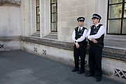 Policemen outside The Supreme Court as the second day of the hearing to rule on the legality of suspending or proroguing Parliament begins on September 18th 2019 in London, United Kingdom. The ruling will be made by 11 judges in the coming days to determine if the action of Prime Minister Boris Johnson to suspend parliament and his advice to do so given to the Queen was unlawful.
