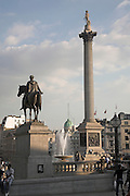 Nelson's column, fountain, equestrian statue of King George IV, Trafalgar Square, London, England