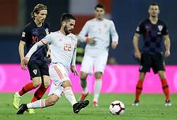 ZAGREB, Nov. 15, 2018  Isco (in front) of Spain and Luka Modric (L, in the back) of Croatia during the UEFA Nations League A group 4 match between Croatia and Spain at Maksimir stadium in Zagreb, Croatia, on November 15. Croatia won 3:2. (Credit Image: © Igor Kralj/Pixsell/Xinhua via ZUMA Wire)