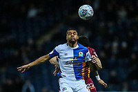 Blackburn Rovers' Dominic Samuel beats Bradford City's  Nat Knight-Percival in the air<br /> <br /> Photographer Andrew Kearns/CameraSport<br /> <br /> The EFL Sky Bet League One - Blackburn Rovers v Bradford City - Thursday 29 March 2018 - Ewood Park - Blackburn<br /> <br /> World Copyright © 2018 CameraSport. All rights reserved. 43 Linden Ave. Countesthorpe. Leicester. England. LE8 5PG - Tel: +44 (0) 116 277 4147 - admin@camerasport.com - www.camerasport.com