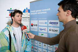 Slovenian alpine skier Andrej Jerman with journalist of Siol Sportal Andrej Rigler at arrival to Airport Joze Pucnik from Vancouver after Winter Olympic games 2010, on February 23, 2010 in Brnik, Slovenia. (Photo by Vid Ponikvar / Sportida)