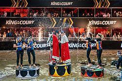 "vlnr Emi van Driel, Mexime van Driel, Eduarda Santos Lisboa ""Duda"" BRA, Agatha Bednarczuk BRA, Madelein Meppelink, Sanne Keizer during the ceremony on the last day of the beach volleyball event King of the Court at Jaarbeursplein on September 12, 2020 in Utrecht."