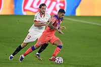 SEVILLE, SPAIN - DECEMBER 02: Franco Vazquez of FC Sevilla and Emerson of Chelsea FC during the UEFA Champions League Group E stage match between FC Sevilla and Chelsea FC at Estadio Ramon Sanchez-Pizjuan on December 2, 2020 in Seville, Spain. (Photo by Juan Jose Ubeda/MB Media)