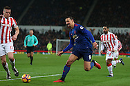 Zlatan Ibrahimovic of Manchester Utd © in action. Premier league match, Stoke City v Manchester Utd at the Bet365 Stadium in Stoke on Trent, Staffs on Saturday 21st January 2017.<br /> pic by Andrew Orchard, Andrew Orchard sports photography.
