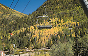 Chairlift, empty chair, at Taos Ski Valley<br />